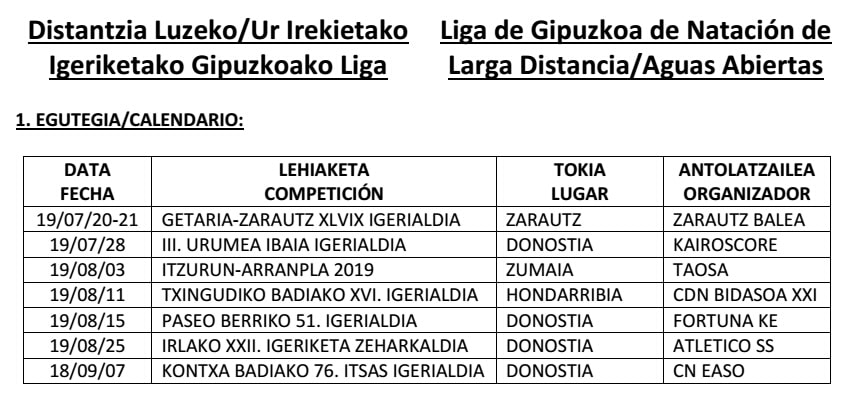 Calendario Laboral Gipuzkoa 2019.Atletico San Sebastian Travesia A Nado La Isla